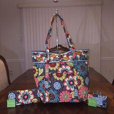 NWT Vera Bradley 3 pcs XL Vera Tote Tri-fold Wallet Zip ID Case in Flower Shower