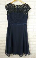 COAST Evening Dress Sz 12 [10] Navy Blue lace trim