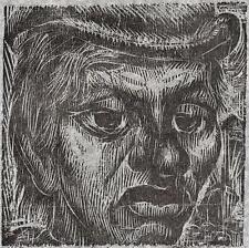 CARLOS HERMOSILLA ALVAREZ Signed Woodcut MALE JOCKEY PORTRAIT 1973 CHILE