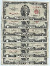 7 Legal Tender $2 Red Seal notes Series 1953 A (four) and Series 1953 C (three)
