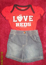 RED sox Baseball baby shirt & jeans 3 Mos shorts & ice cream  helmet dishes