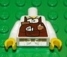 "LEGO - Minifig, Torso Brown Apron w/ Coffee Cup Logo & Pocket - ""Larry"" Nametag"