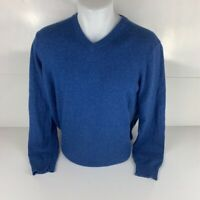 Williams Mens Pullover Sweater Blue V Neck 100% Cashmere Ribbed Long Sleeve S
