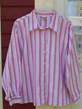 "FASHION BUG Pink Striped Long Sleeved Button Down Cotton Shirt 26/28 (59"") EUC"