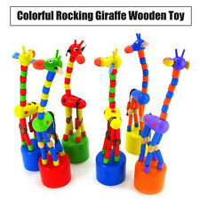 Boys Girls Kids Intelligence Wooden Toy Dancing Stand Colorful Rocking Giraffe