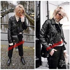 ZARA NEW Leather EFFECT BLACK STARS AND STFS BIKER JACKET SIZE L