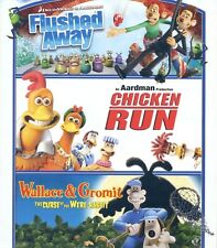 3 movies: Flushed Away, Chicken Run, Wallace & Gromit Curse Were-Rabbit, new Dvd