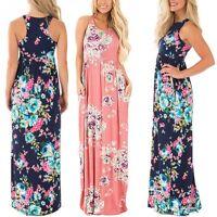 Women's Summer Vintage Boho Long Maxi Evening Party Beach Dress Floral Sundress