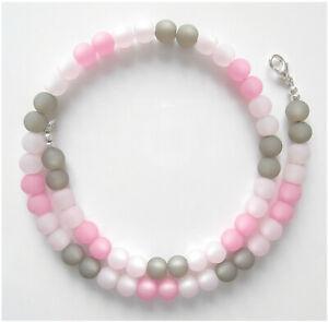 Halskette rosa pink grau echte Polarisperlen Perlen Kette Collier neu Geschenk
