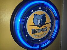 Memphis Grizzlies Basketball Bar Man Cave Blue Neon Wall Clock Sign