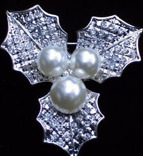 SILVER CLEAR RHINESTONE PEARL CHRISTMAS HOLLY BERRY LEAF PIN BROOCH JEWELRY 2""