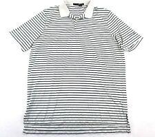 RLX Ralph Lauren Men's XL Polo Shirt SS White & Blue Striped w Wolf Creek Logo