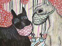 Scottish Terrier in Quarantine Original 9 x 12 Pastel Painting Dog Pop Art KSams