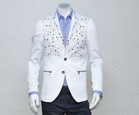 Mondo Men's Italian Fashion luxury Fitted Blazer two Buttons Hand Spiked White