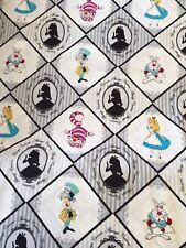 Disney  Cotton FQ quilting fabric Alice In Wonderland White Rabbit