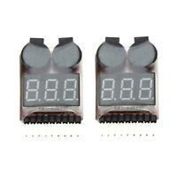 2pcs 1-8S Indicador RC bateria de Li-ion Lipo probador de alarma de zumbado Y6I4