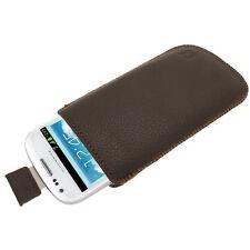 Braun Leder Beutel für Samsung Galaxy S3 III Mini I8190 Tasche Hülle