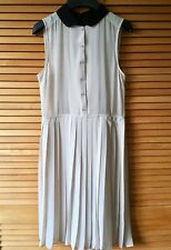 BNWOT H&M TREND NUDE & BLACK SHEER SLEEVELESS BUTTON UP PLEATED DRESS 32 6 XS