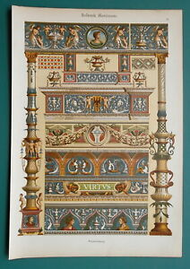 ITALY Rennaissance Ornaments Painting Milan Genoa - 1890s Color Litho Print