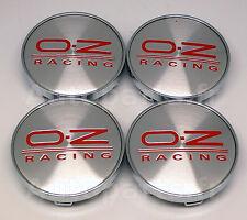 4 Cache Jante Centre roue Tuning BMW AUDI VW Peugeot OZ O.Z. Argent/Rouge - 68mm