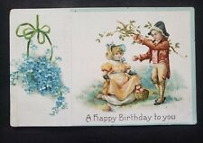 Antique Happy Birthday Card Postcard Embossed design New York Postmark