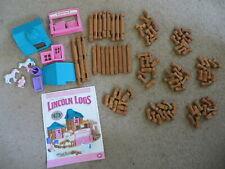 Vgc Lincoln Logs Little Prairie Farmhouse - w/ farm woman, 2 horses, roofs, door