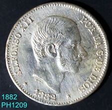 PHILIPPINES SPAIN 50 Centimos 1882 circulated silver better condition than most