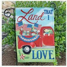 "Land That I Love Red Pickup Dog 12.5"" X 18"" Garden Flag 27-3470-50 Flip It! Rain"