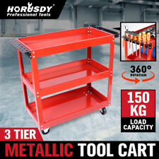 Heavy Duty Tool Cart 3-Tier Parts Steel Trolley Mechanic Storage Organizer Red