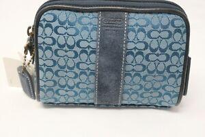 Coach Soho Teal Blue Mini Signature C Beauty Cosmetic Case Brass Leather Rare