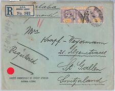 51988 - SIERRA LEONE - POSTAL HISTORY - REGISTERED COVER to SWITZERLAND  1909