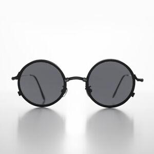 Black Trad Goth Industrial Round Gunmetal Vintage Sunglass Gray Lens - Gilman
