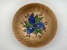 "New listing Vtg Hand Turned & Painted Norwegian Wood Bowl Blue Floral Rosemal Signed 6.5"""
