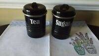 TYPHOON VINTAGE KITCHEN ENAMEL COATED STEEL BLACK CANISTERS TEA AND SUGAR RETRO