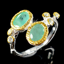 Handmade Natural Emerald 925 Sterling Silver Ring Size 8.5/R110943