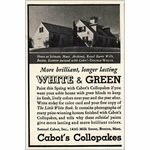1936 Cabot's Callopakes: Longer Lasting White and Green Vintage Print Ad