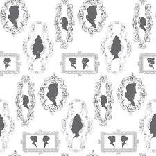 Galerie Black White Women Silhouettes Wallpaper Vintage Scroll Paste Wall