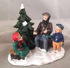 Christmas Village Snow Village Miniature Figurine Man Storytelling w/ Children