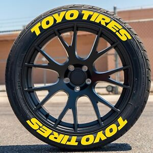 "Permanent Tire Lettering Toyo Tires Stickers 1"" for 14"" to 22"" 8 Decal Kit"
