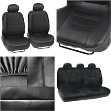 Universal Black Faux PU Leather Car Seat Cover Full Set Front+Rear Protector 9x