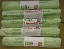 100 X 7 LITRE COMPOSTABLE FOOD WASTE BAGS GREEN CADDY LINERS BIOBAGS EN1342.