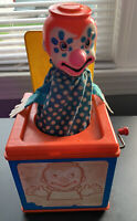 Vintage 1976 Mattel Jack In The Box Wind Up Musical Clown Toy Retro