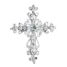 Silver Crystal Rhinestones Brooch Pins Lux Accessories Silver Tone Cross
