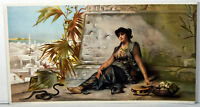1890s Antique Print Young Oriental Woman Snake Charmer