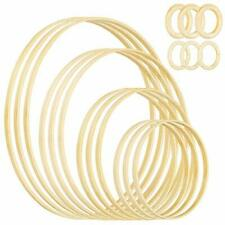Meetory 18 Pieces 6 Size Wooden Bamboo Crafts Hoops for DIY Floral Macrame Fr...