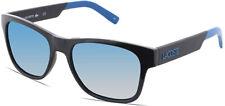Lacoste Men's Black Square Sunglasses w/ Blue Flash Lens - L829S 001