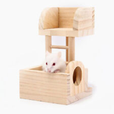 Wooden Two-storey Villa Climbing Ladder Hamster Guinea Pig Toys Pet Cage Decor