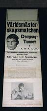 VERY RARE 1926 Jack Dempsey vs Gene Tunney boxing poster