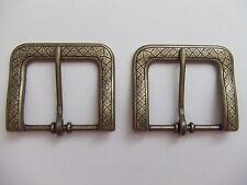 Lot Of 2 Antique Brass End Bar/Harness Belt Buckles