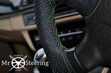 FOR 2009+ SKODA YETI PERFORATED LEATHER STEERING WHEEL COVER GREEN DOUBLE STITCH